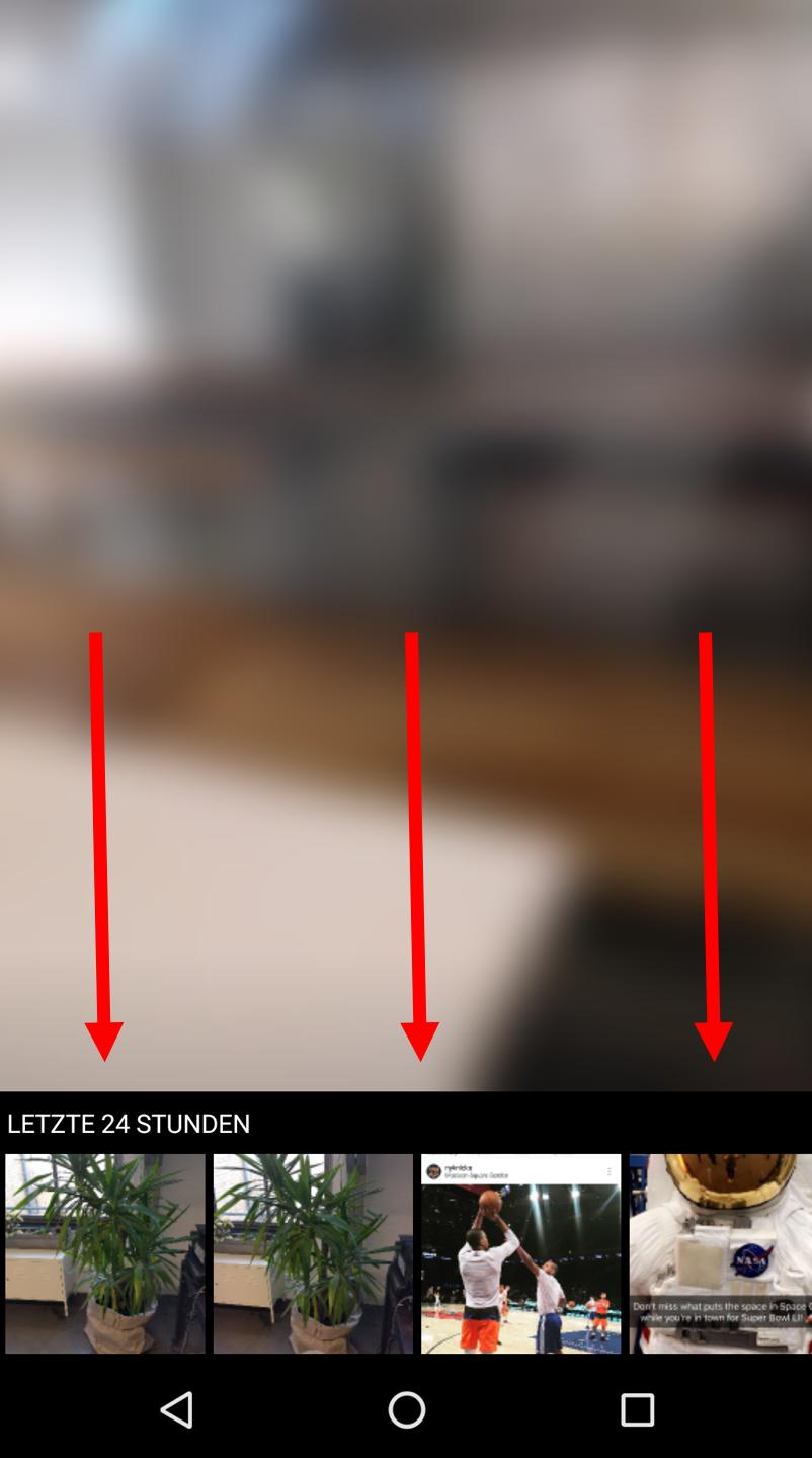 """Bild 4 -Nachdem Sie auf Ihrem Screen nach unten """"gewischt"""" haben, können Sie auf gespeicherte Fotos und Videos zugreifen"""